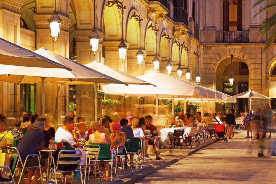 Placa Reial in summer night. Photo: Shutterstock
