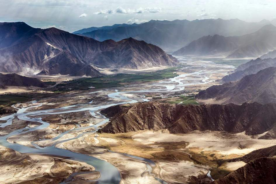 aerial view of the Mountain around Lhasa Gonggar Airport, Tibet, China