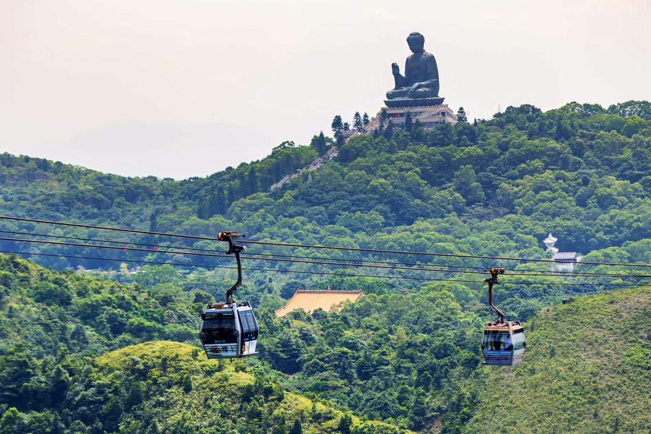 Giant Buddha with cable car /Po Lin Monastery in Hong Kong, Lantau Island