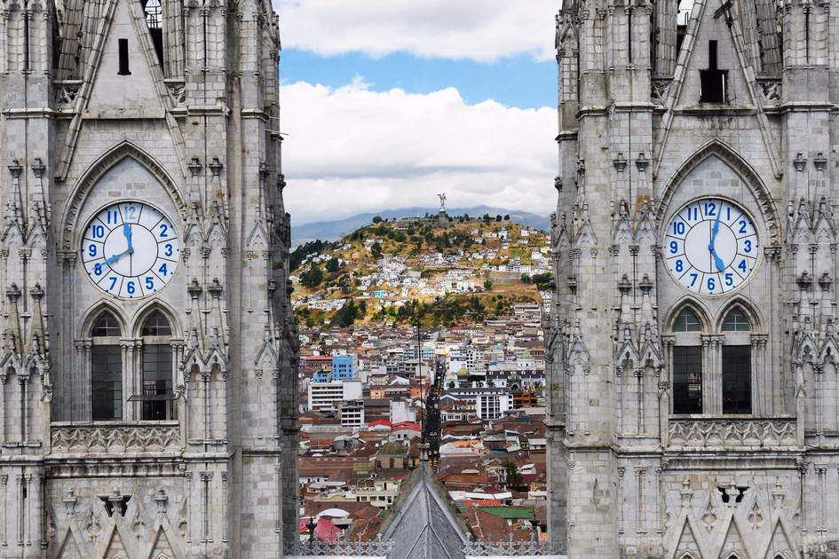 Quito is a beautifllly set city, packed with historical monuments and architectural treasures. The picture present view on the colonial old town in Quito