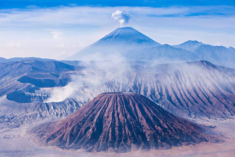 Bromo, Batok and Semeru volcanoes, Java island, Indonesia