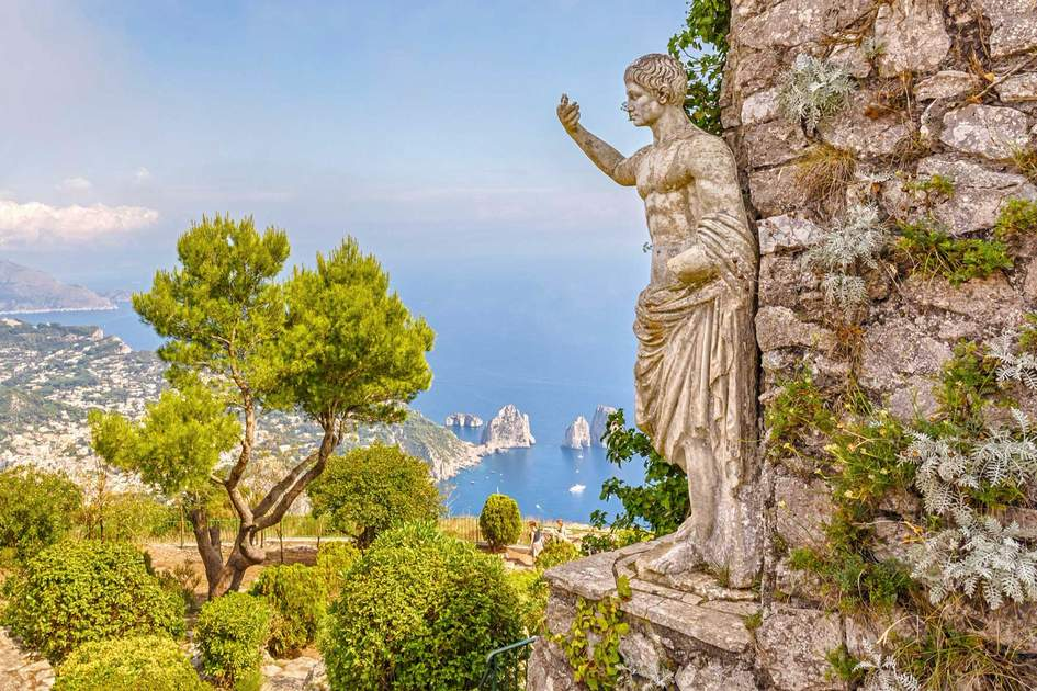 View from Mount Solaro Monte height of 589 meters and the Faraglioni rocks of Capri, Italy.