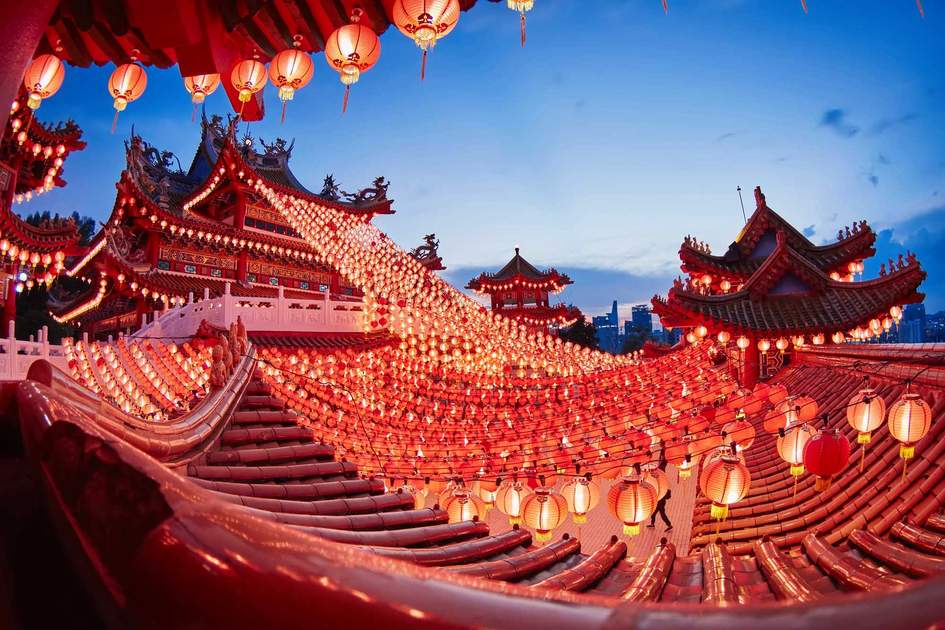 Kuala Lumpur, Malaysia - February 09, 2016: Over the roof top view of a traditional chinese lanterns display during chinese new year festival at Thean Hou Temple.