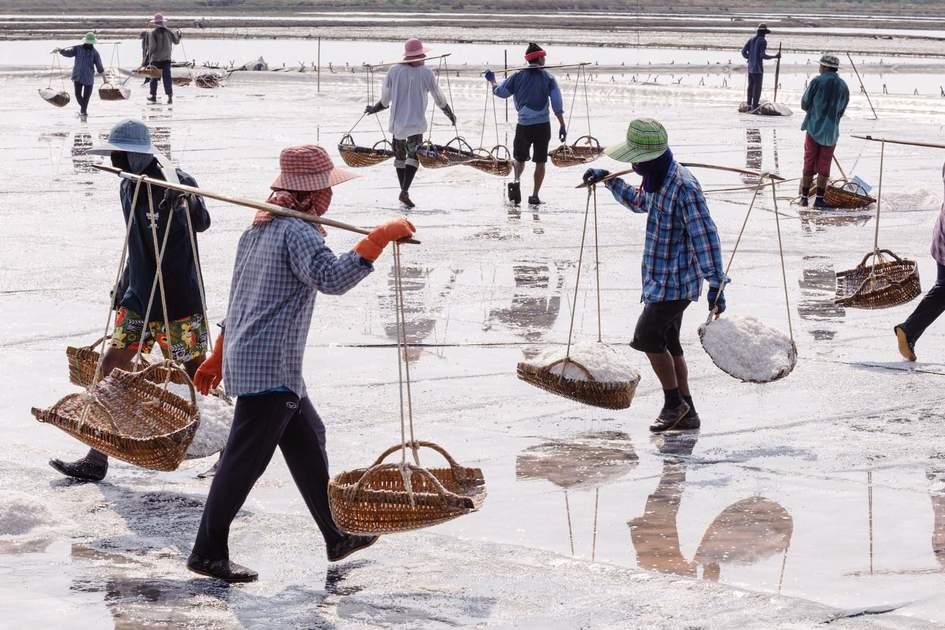 Salt farming career in Phetchaburi ,Thailand