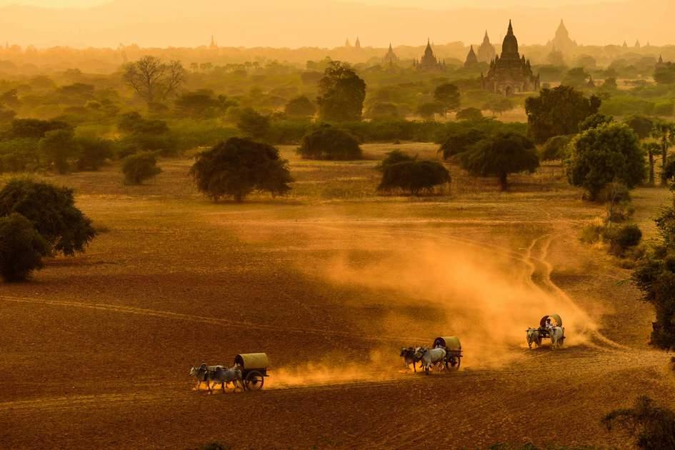 This scene from Bagan City, Myanmar.