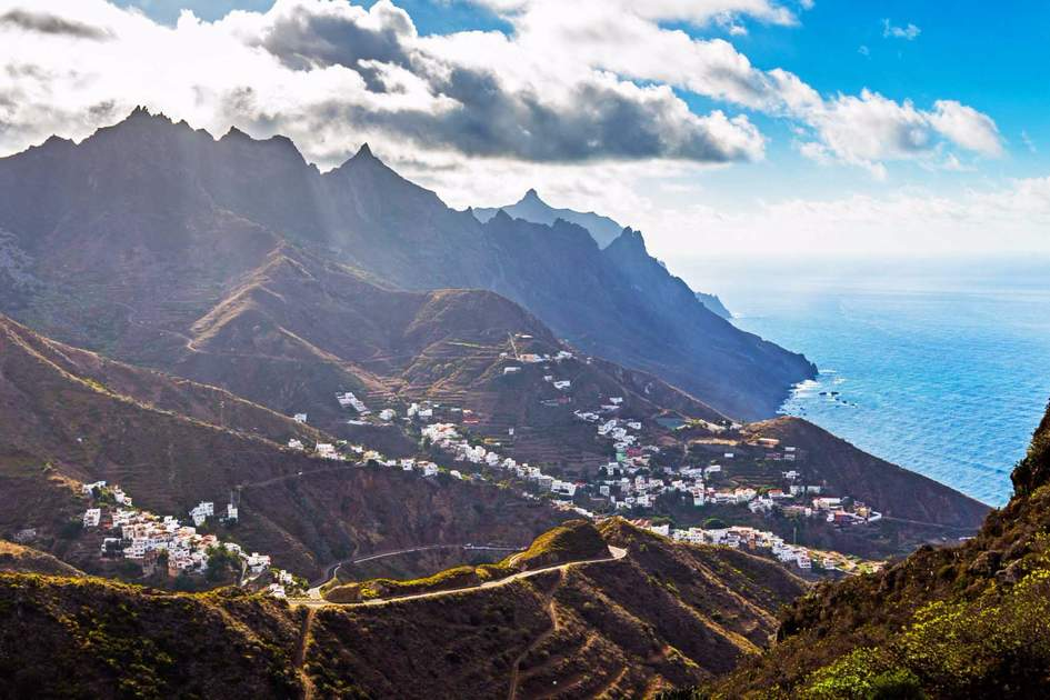 Beautiful view of Anaga mountains with the Taganana village, Tenerife, Canary Islands