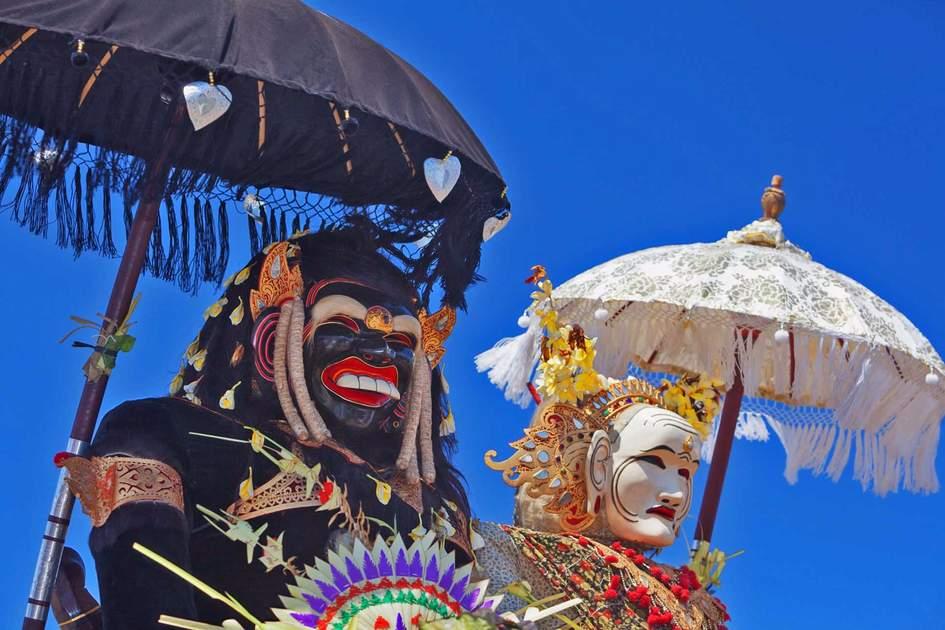 Barong Landung traditional protective spirit of Bali in human body at ceremony Melasti before Balinese New Year and silence day Nyepi.