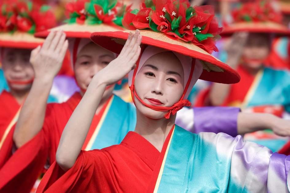 The Taniyama Furusato Matsuri dance festival in Kagoshima City, Japan.
