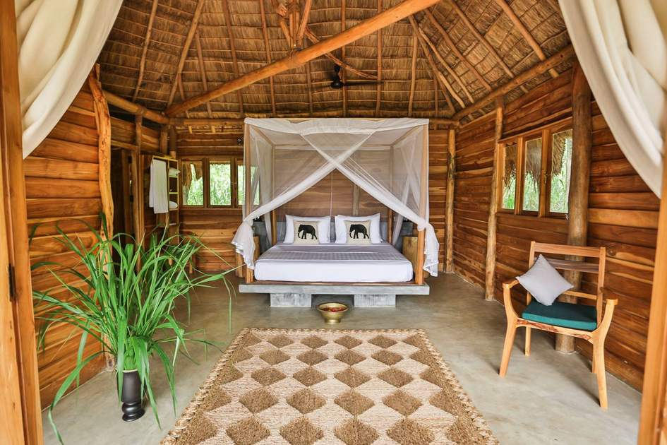 The rooms at Gal Oya Lodge offer a rustic, natural interior