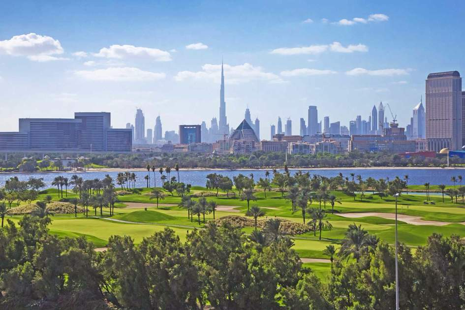 Dubai view over Golf Creek Club and the river. Photo: Shutterstock