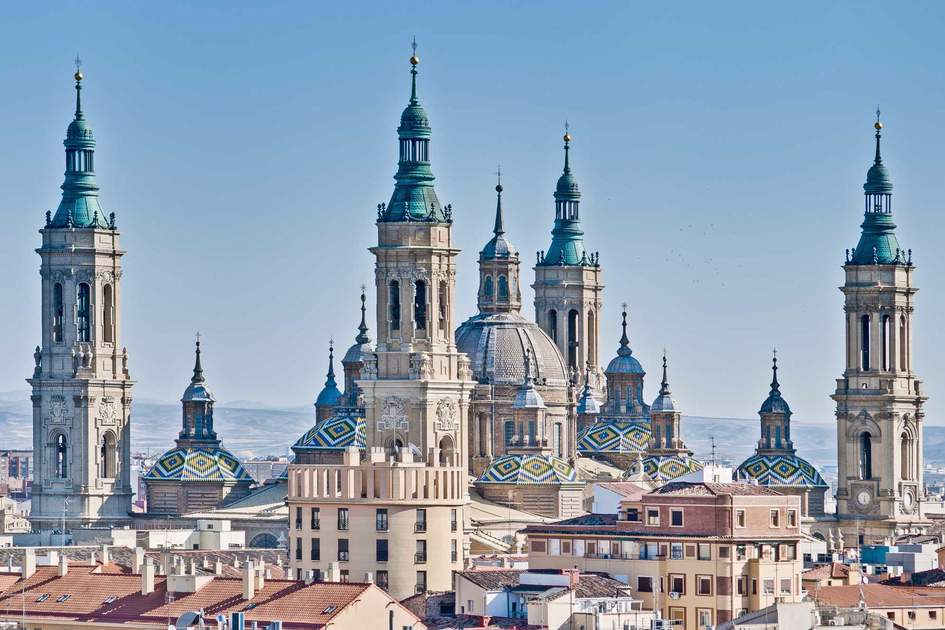 Our Lady of the Pillar Basilica as seen from San Pablo Church Tower at Zaragoza, Spai