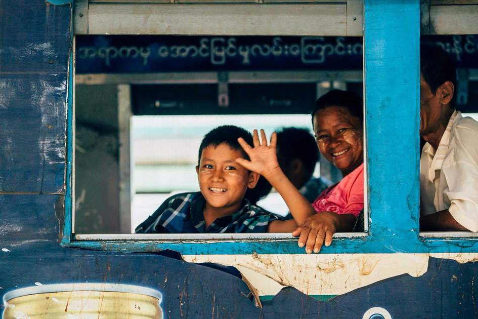Yangon Circular Railway  and waiting passengers. Photo: Shutterstock