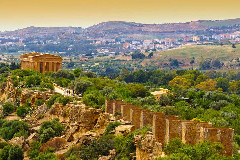 Sunset in Temple of Concordia - Valley of the Temples, Agrigento, Sicily. Photo: Shutterstock