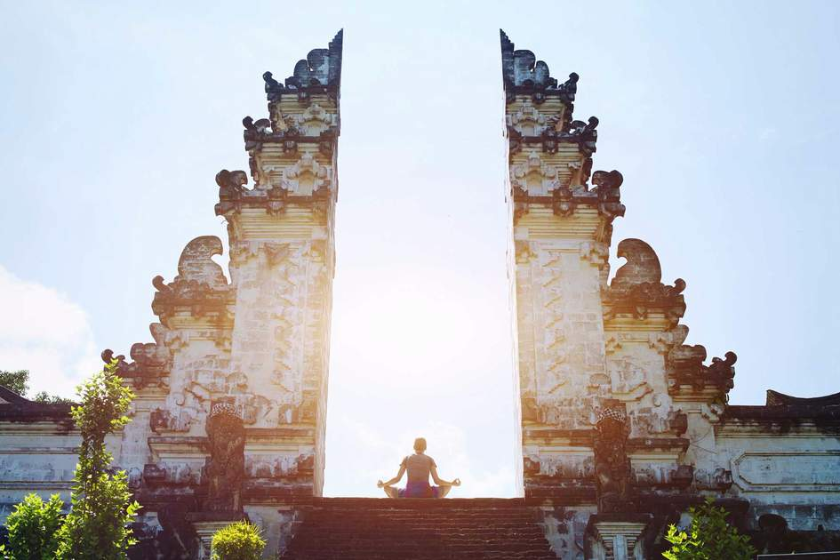 Yoga meditation in the temple of Bali. Photo: Shutterstock