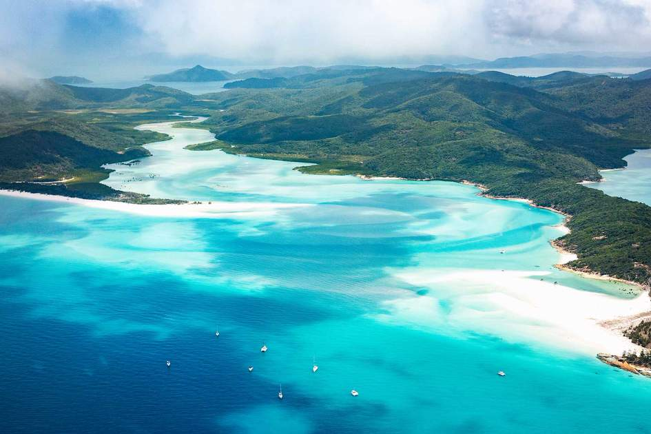 Whitehaven beach and Whitsundays Islands from above.