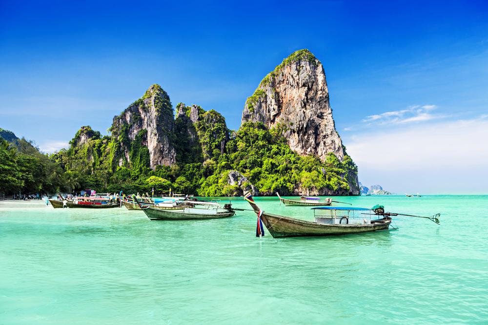 Longtail boats on an idyllic beach, Thailand