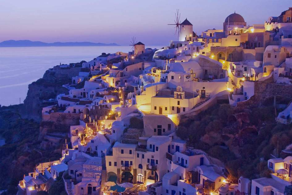 Santorini Island, Greece, on sunset.