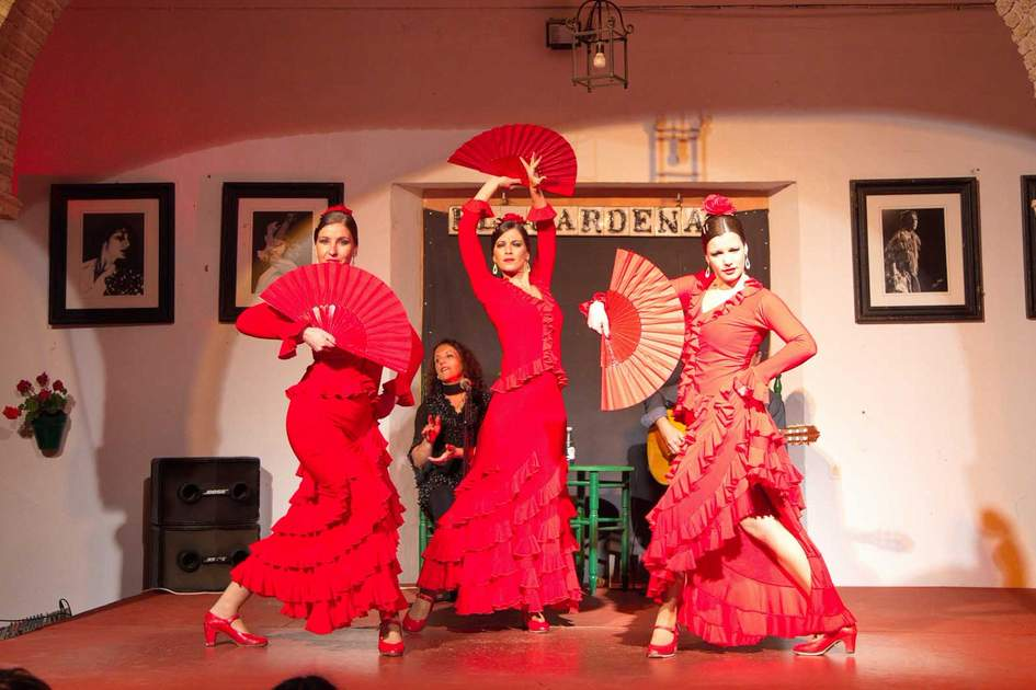 Flamenco dancers and musicians performing at Tablao Flamenco in Cordoba. Photo: Shutterstock