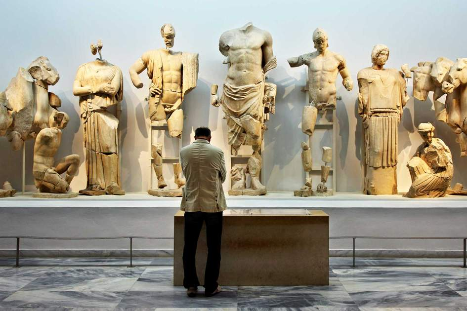 Temple of Zeus statues in the Archaeological Museum of Olympia. Photo: Shutterstock