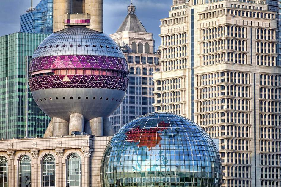 Fragment of Pudong modern architectural complex seen from Bund in Shanghai. Photo: Shutterstock