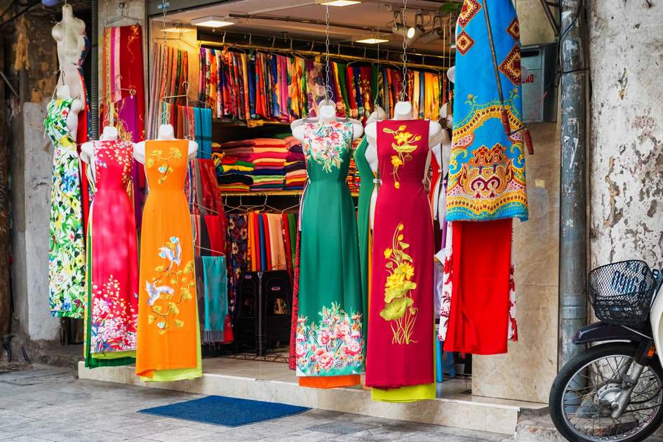 Dress shop in Hanoi Old Town, Vietnam. Photo: Shutterstock