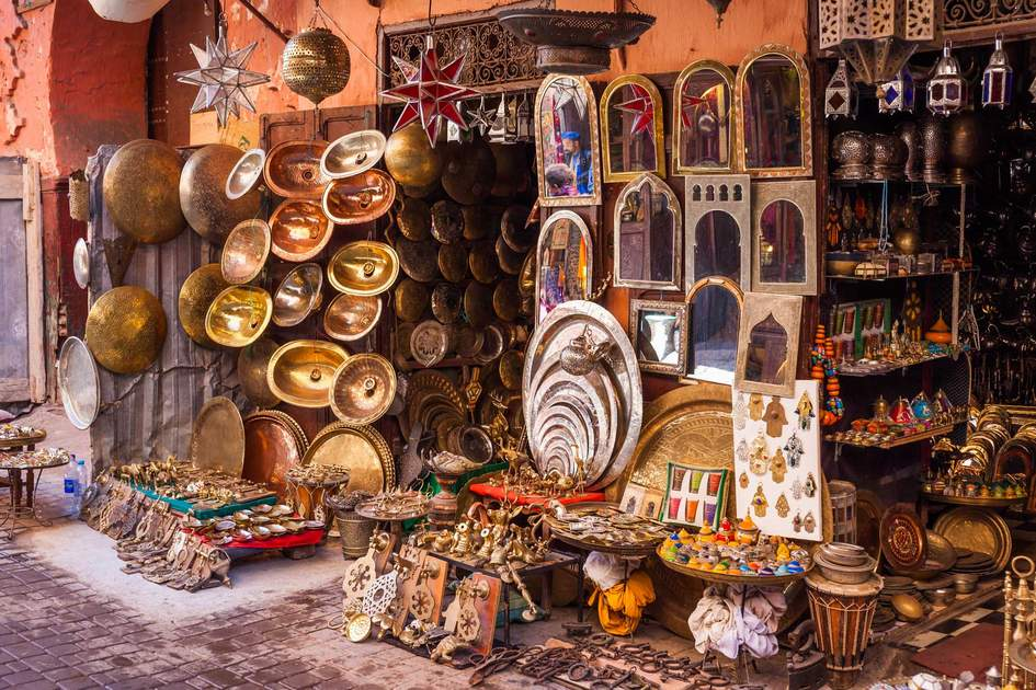 Metalwork for sale in Marrakesh souq. Photo: Shutterstock