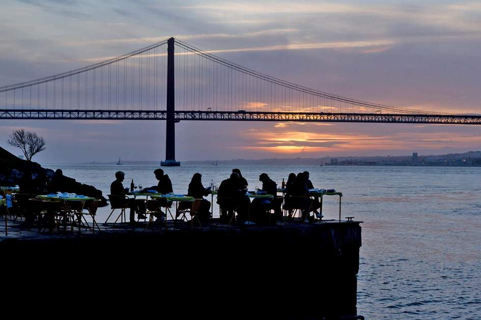 Lisbon bar with 25 April bridge view. Photo: Shutterstock