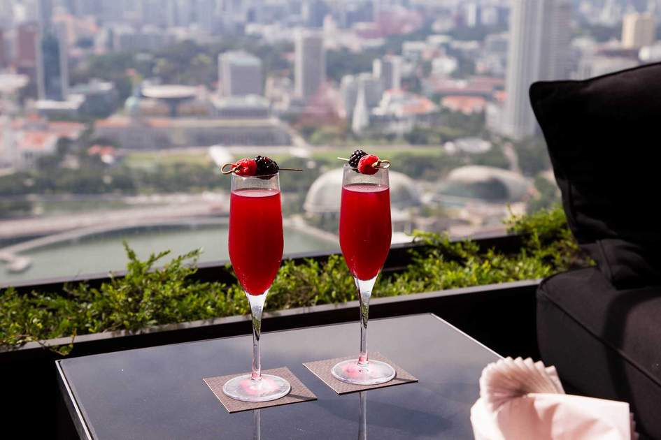Two glasses of champagne in Ce La Vi in Marina Bay Sands. Photo: Shutterstock