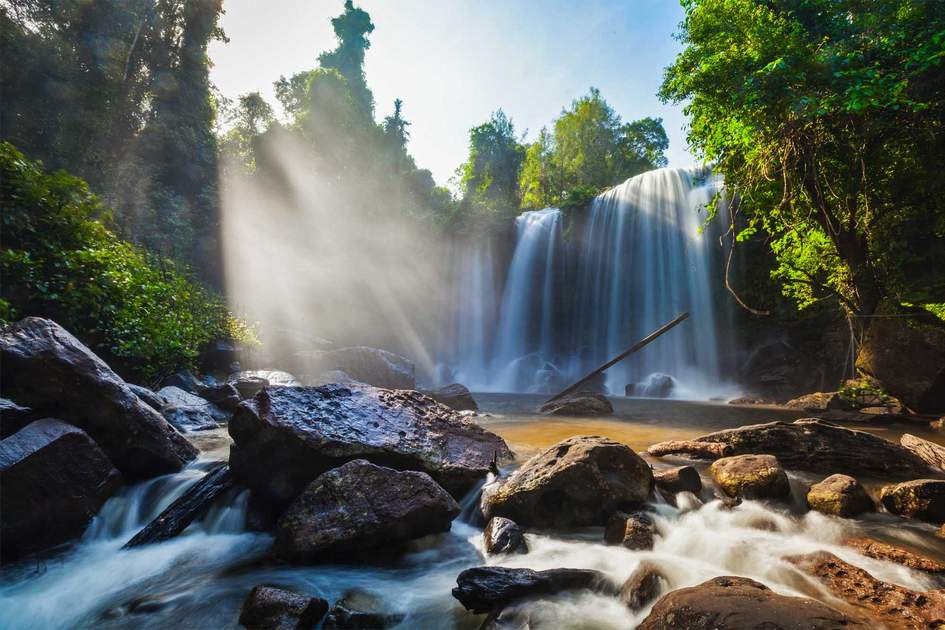 Waterfall in Phnom Kulen national park, Cambodia. Photo: DR Travel Photo and Video/Shutterstock
