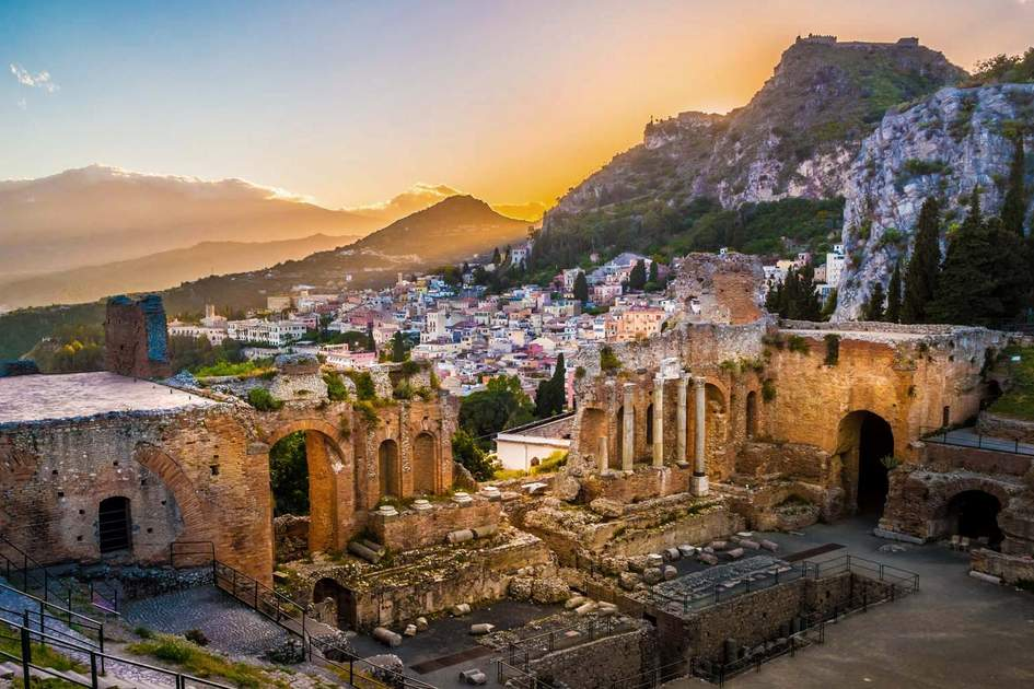 Ancient Theatre of Taormina at sunset. Photo: Romas_Photo/Shutterstock