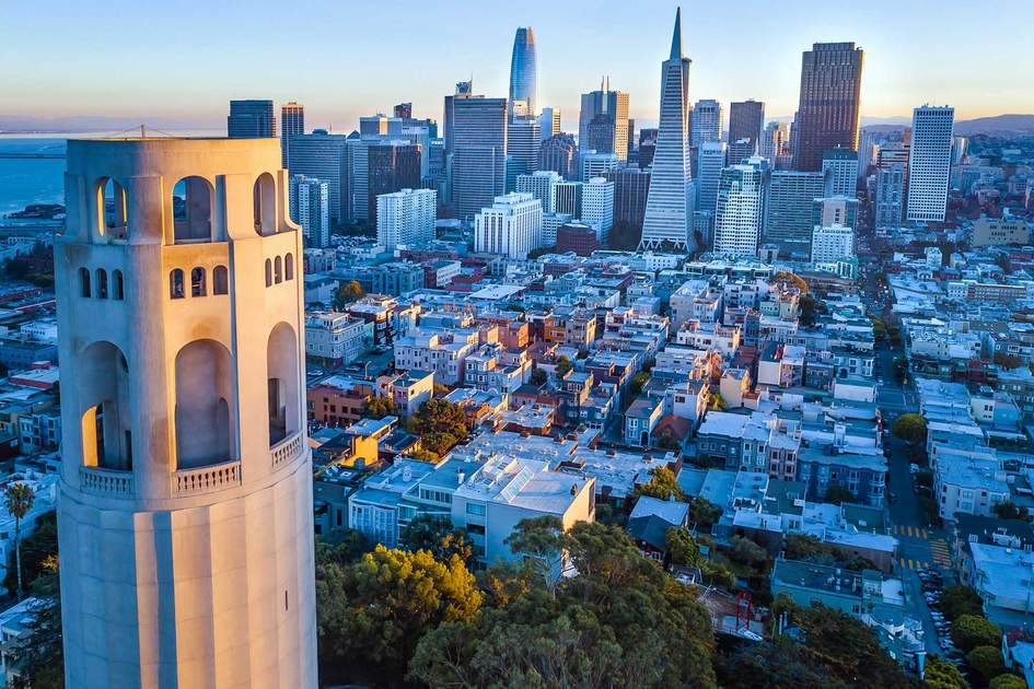 Coit Tower and San Francisco skyline. Photo: Max Geller/Shutterstock