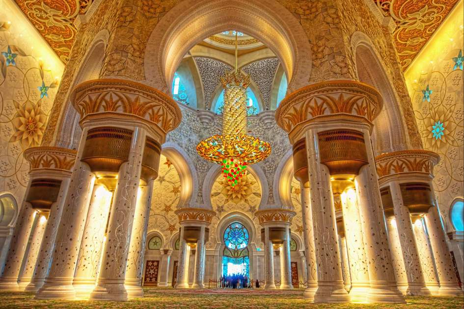 Interior of Sheikh Zayed Grand Mosque, Abu Dhabi. Photo: Naufal MQ/Shutterstock