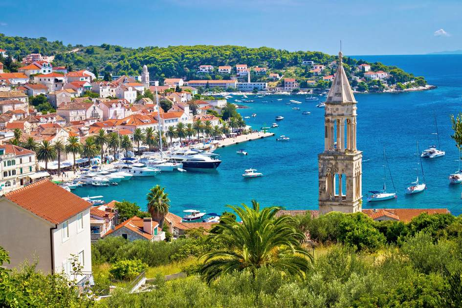 Aerial view of the harbour in Hvar, Croatia. Photo: xbrchx/Shutterstock