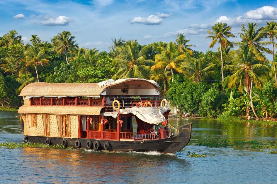 Houseboat on the backwaters, Kerala, India. Photo: Dmitry Rukhlenko/Shutterstock