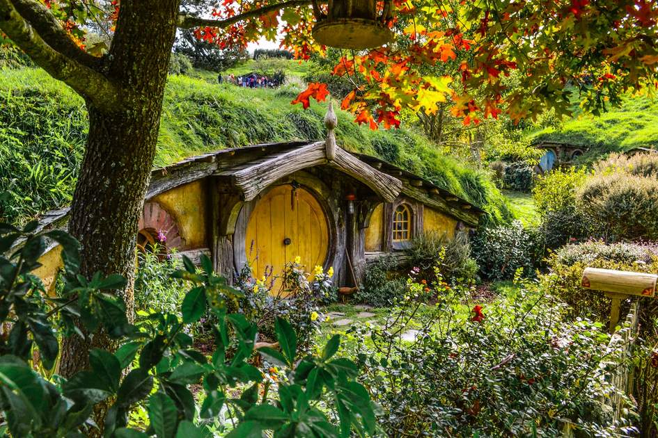 Movie set tours of Lord of the Rings locations are available at Hobbiton in Matamata, New Zealand. Photo: Barbora Martinakova/Shutterstock