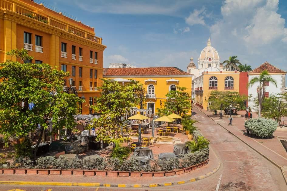 Plaza Santa Teresa square in the centre of Cartagena de Indias, Colombia. Photo: Matyas Rehak/Shutterstock