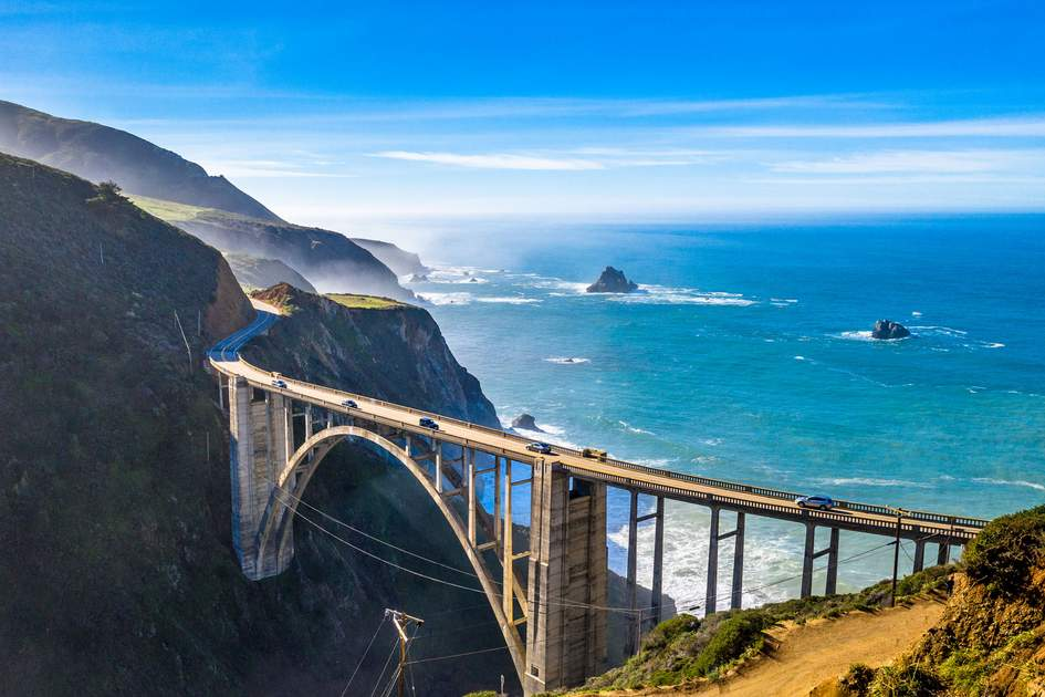 Aerial Bixby Bridge (Rocky Creek Bridge) and Pacific Coast Highway near Big Sur in California. Photo: Nuria Kreuser/Shutterstock