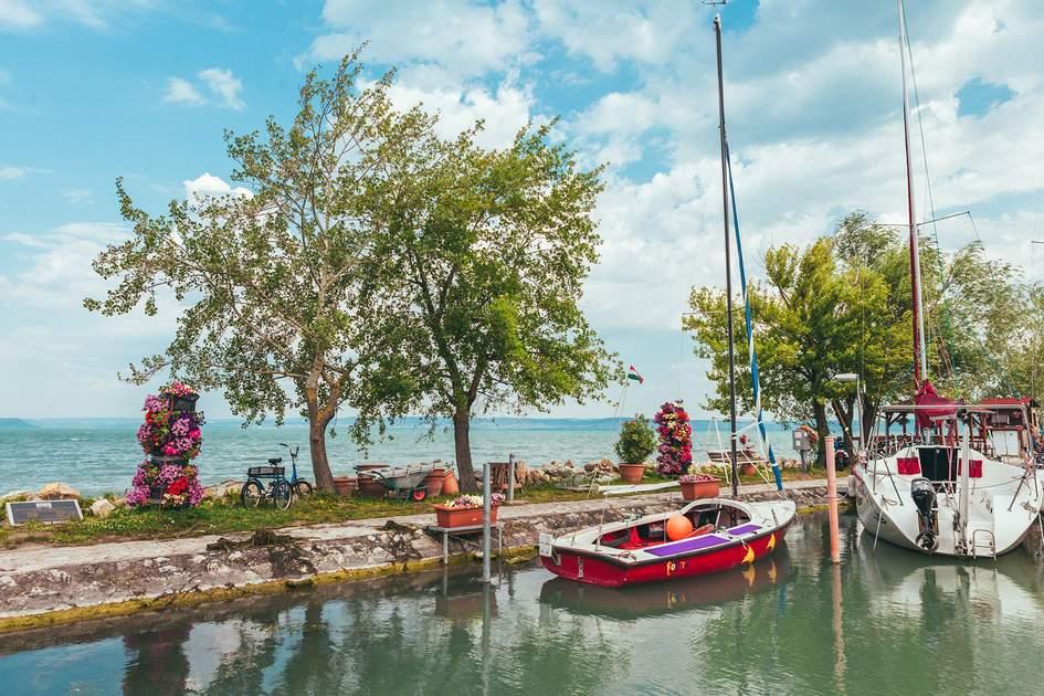 View to entrance to Siofok harbor at Balaton lake. Photo: Georgi Fadejev/Shutterstock