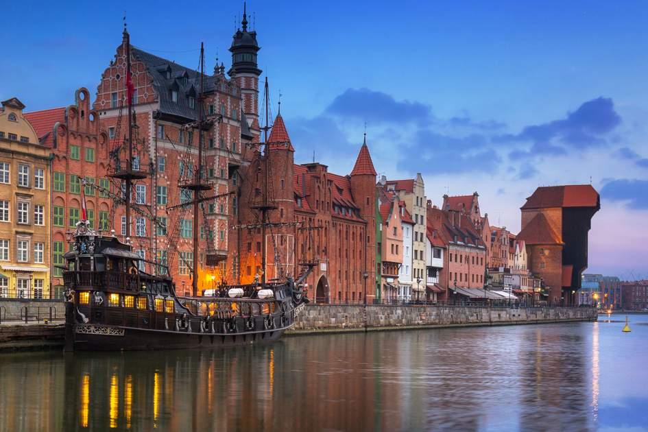 Gdansk's beautiful old town straddling the Motlawa river at sunrise, Poland. Photo: Patryk Kosmider/Shutterstock