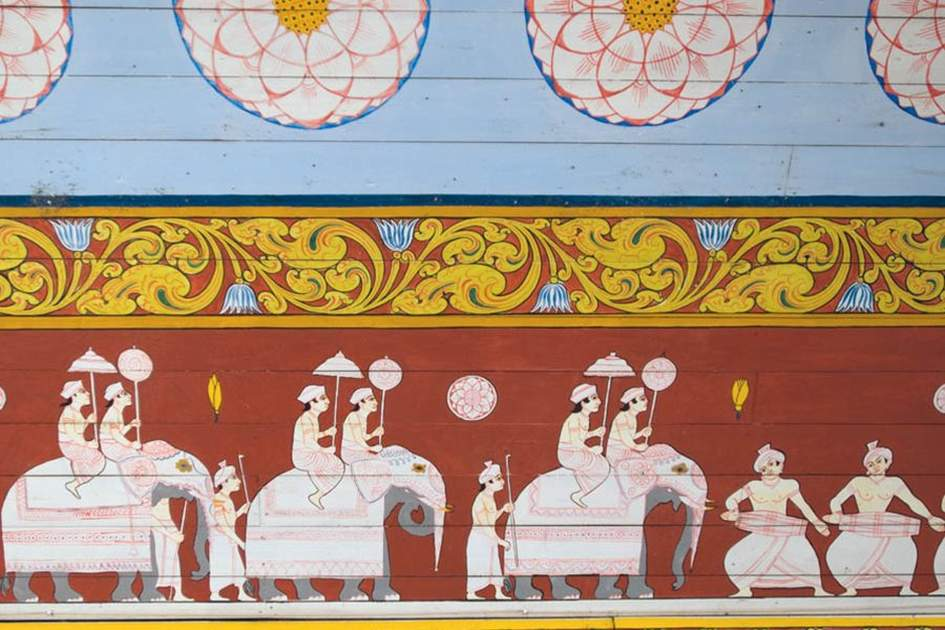 Dalada Maligawa frescoes within the Temple of the Tooth, Kandy Sri lanka, (photo by Sylvaine Poitau)