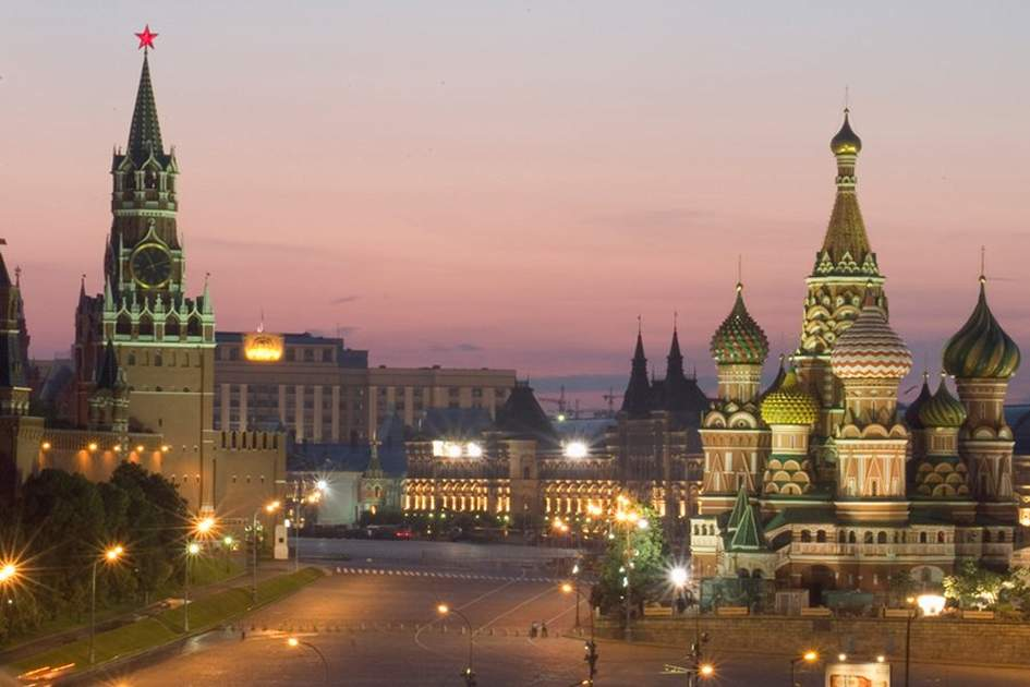 Red Square, St. Basil's, and the Kremlin, (photo by Abraham Nowitz)