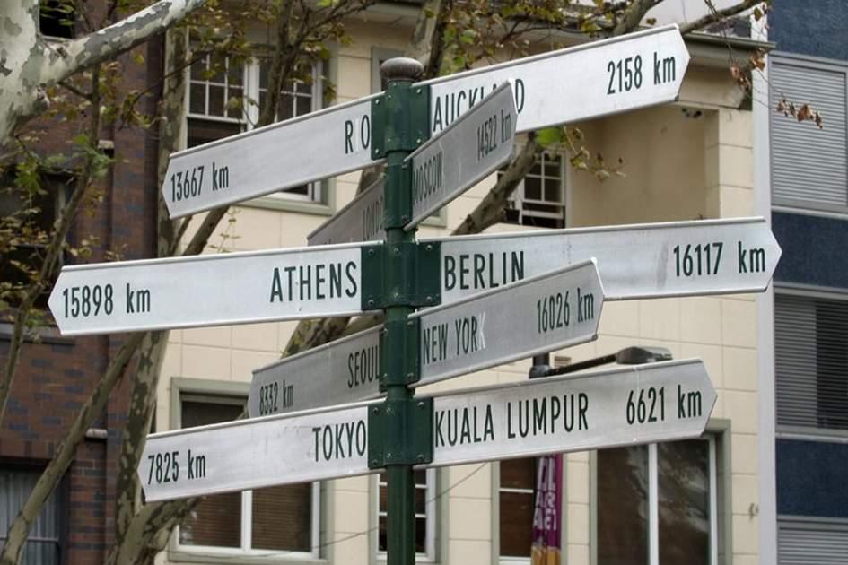 Sydney signpost, (photo by Apa Publications Ltd)