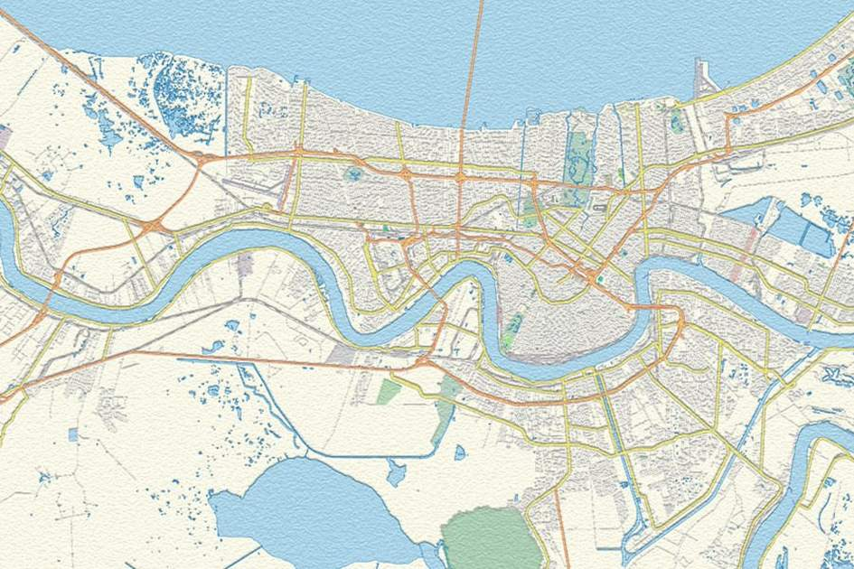 New Orleans, (photo by APA Publications / OpenStreetMap)