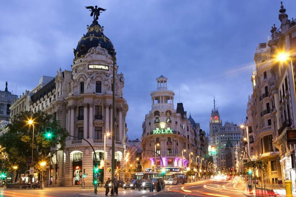 Madrid's Gran Via, (photo by Corrie Wingate)