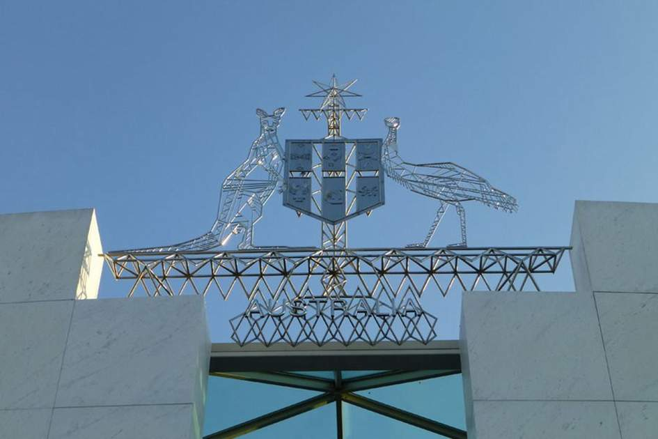 Parliament House crest, Canberra, (photo by Becky Lovell)