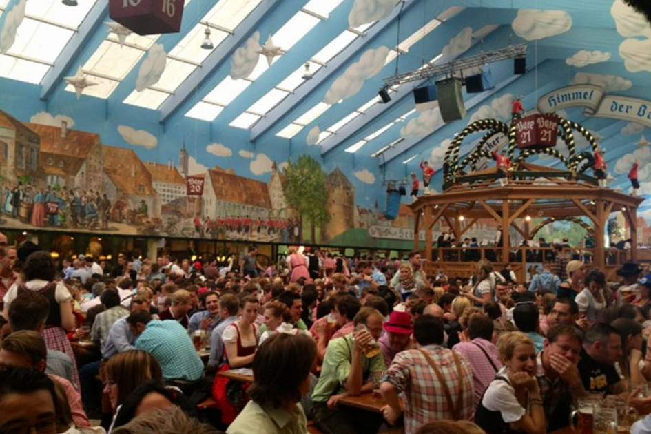 Inside a beer tent during Oktoberfest, (photo by Jana Urbanova)