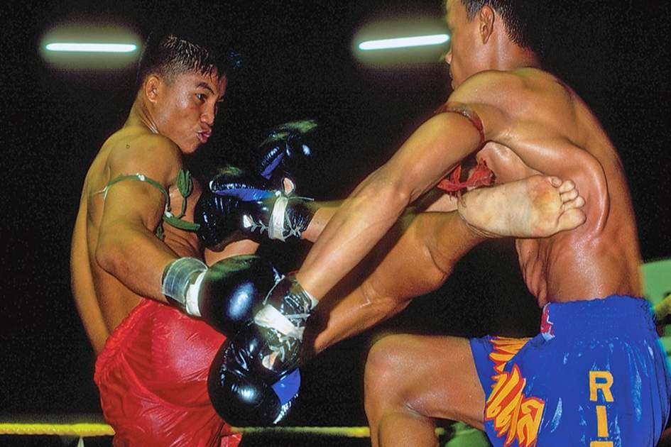 Thai kickboxing calls for excellent timing – from boxers as well as photographers., (photo by Marcus Wilson-Smith)