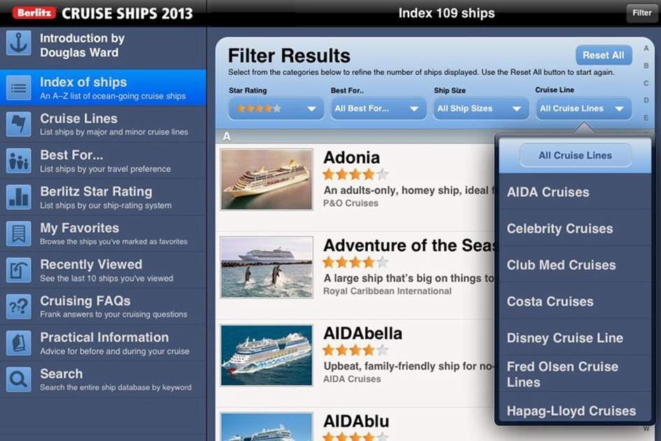 The filter button in the Berlitz Cruise Ships 2013 app, (photo by Apa Publications)