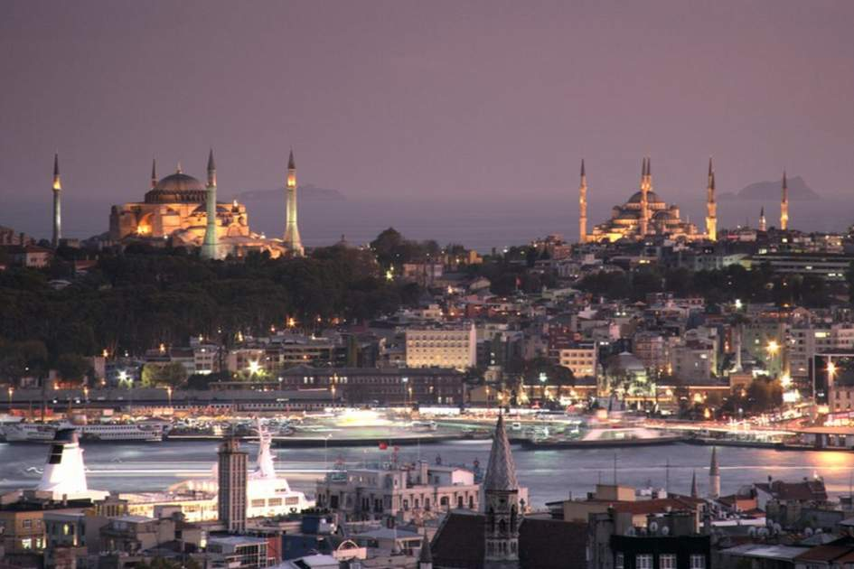 Istanbul skyline showing the Hagia Sophia and Blue Mosque, (photo by Rebecca Erol)