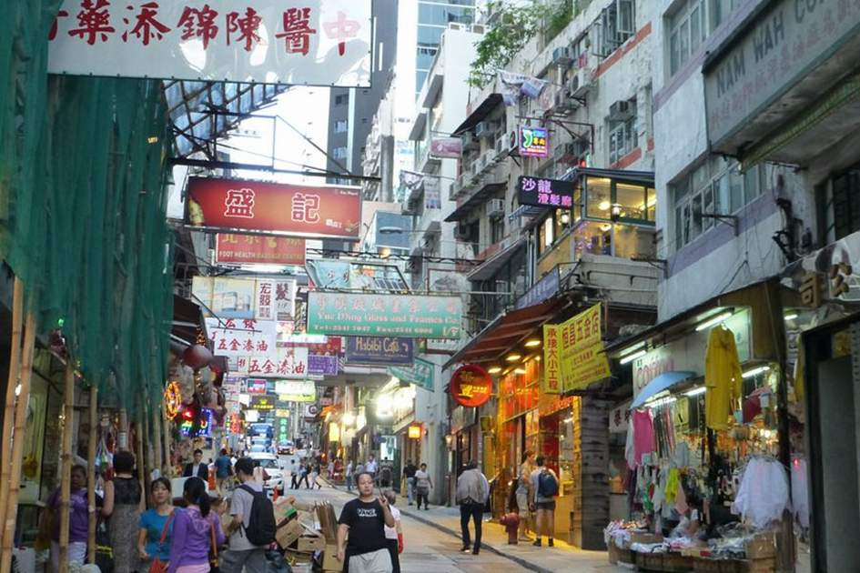 A bustling road in Hong Kong, (photo by Becky Lovell)